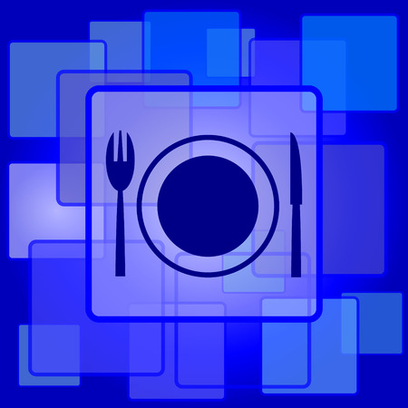 Restaurant icon. Internet button on abstract background. Vector