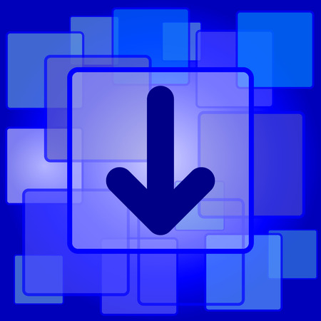 button down: Down arrow icon. Internet button on abstract background.