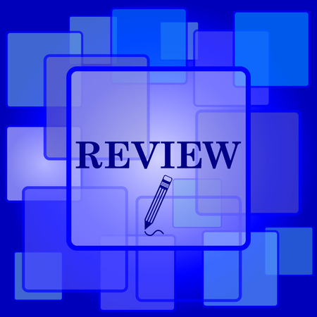 review icon: Review icon. Internet button on abstract background. Illustration