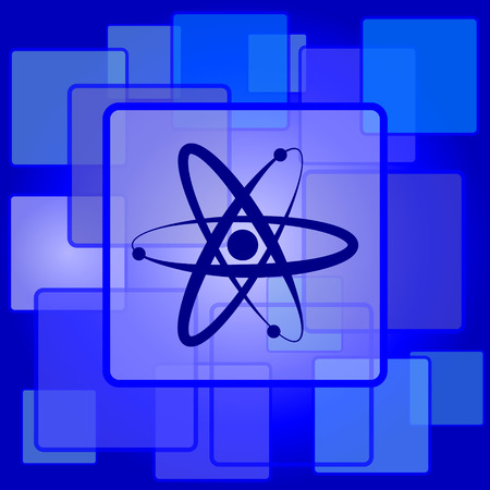 gamma radiation: Atoms icon. Internet button on abstract background.