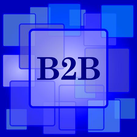b2b: Icono B2B. Bot�n de internet sobre un fondo abstracto.