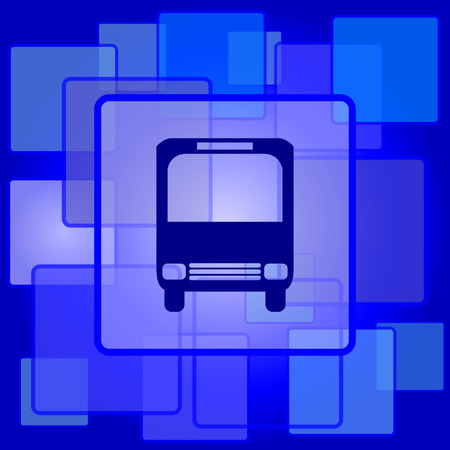 Bus icon. Internet button on abstract background. Vector