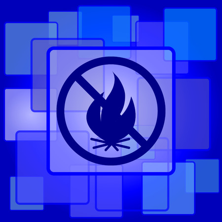 Fire forbidden icon. Internet button on abstract background. Vector