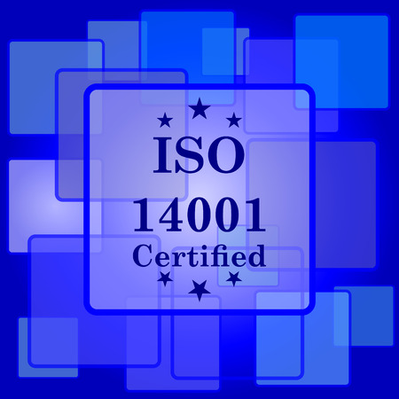 ISO14001 icon. Internet button on abstract background. Vector