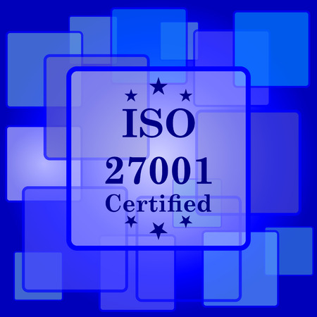ISO 27001 icon. Internet button on abstract background. Vector