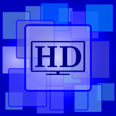 HD TV icon. Internet button on abstract background. Vector