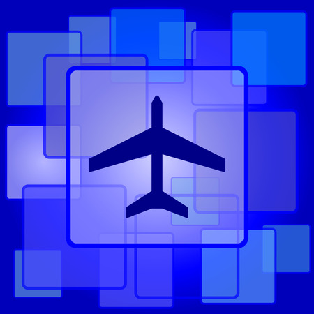 Plane icon. Internet button on abstract background. Vector