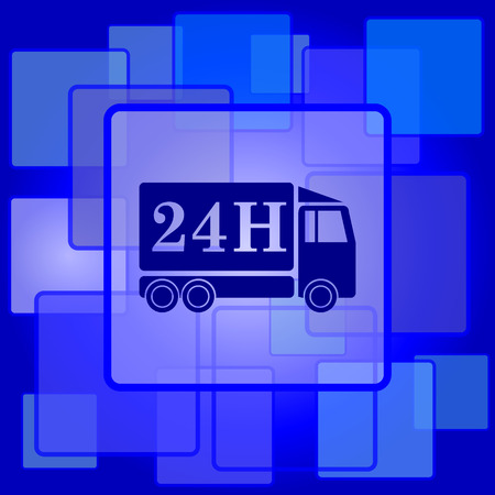 24h: 24H delivery truck icon. Internet button on abstract background.