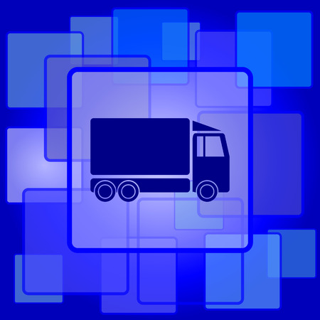 removal van: Truck icon. Internet button on abstract background.