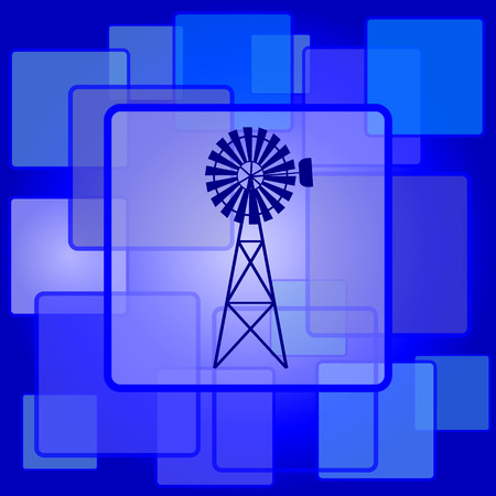 Classic windmill icon. Internet button on abstract background. Vector