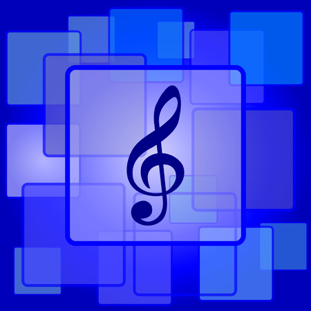 Musical note icon. Internet button on abstract background. Vector