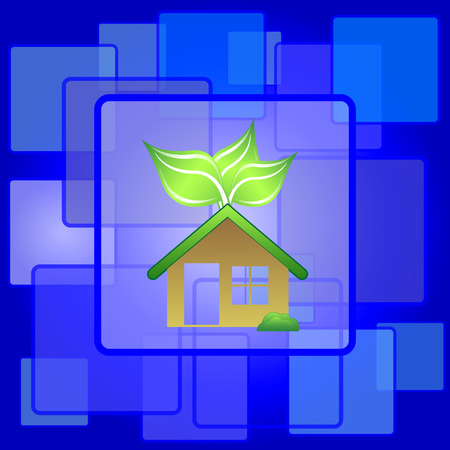 Eco house icon. Internet button on abstract background. Vector