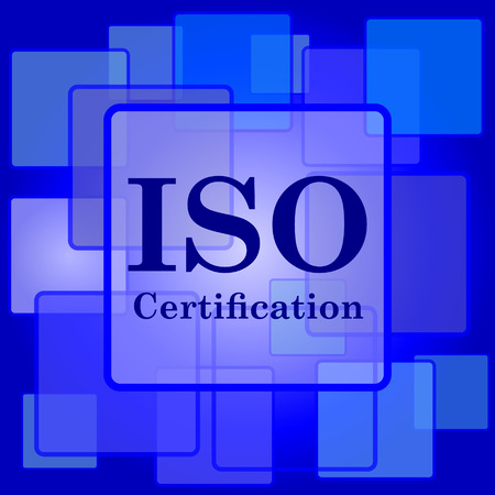 ISO certification icon. Internet button on abstract background. Vector