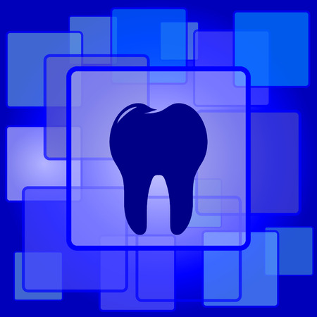 Tooth icon. Internet button on abstract background. Vector