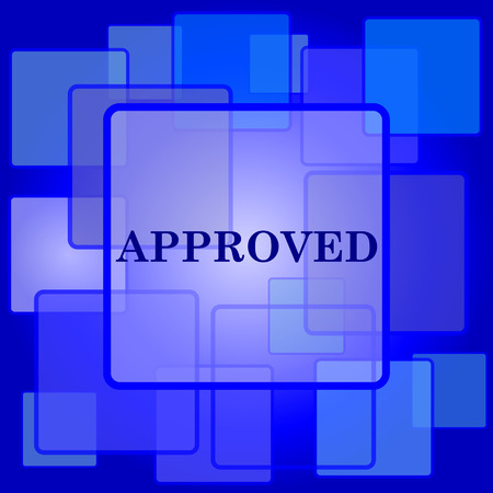 Approved icon. Internet button on abstract background. Vector