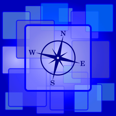 geodesy: Compass icon. Internet button on abstract background.