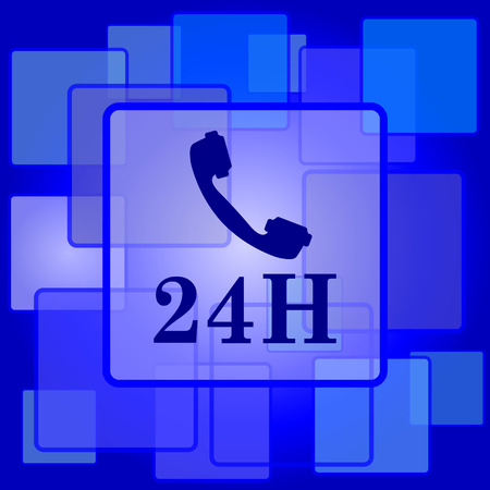 24H phone icon. Internet button on abstract background. Vector