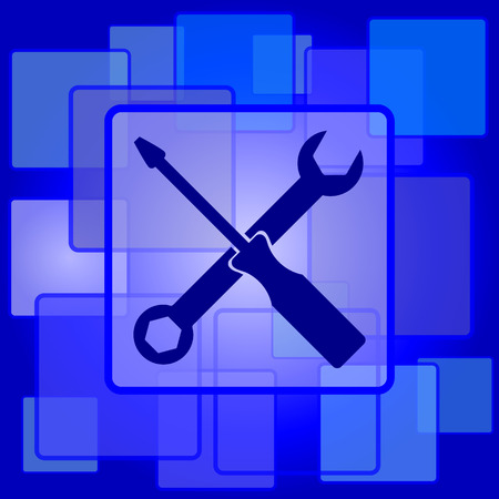 Tools icon. Internet button on abstract background. Vector