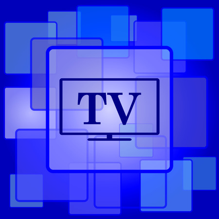 TV icon. Internet button on abstract background. Vector
