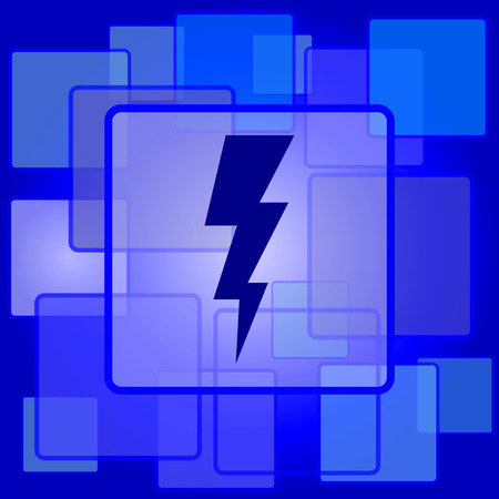 Lightning icon. Internet button on abstract background. Vector