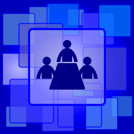 Meeting room icon. Internet button on abstract background. Vector