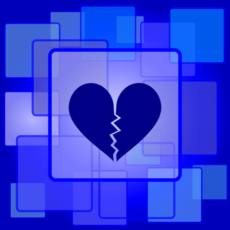 Broken heart icon. Internet button on abstract background. Vector