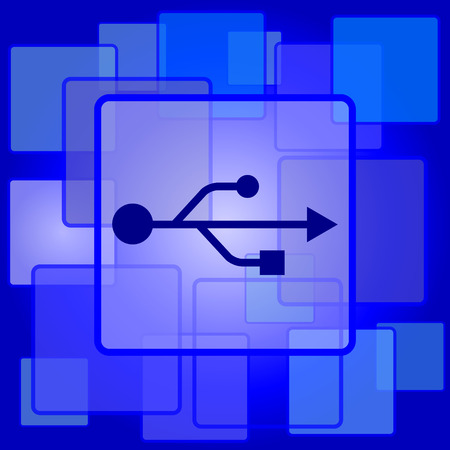 USB icon. Internet button on abstract background. Vector