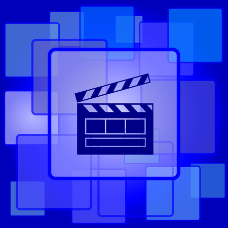 Movie icon. Internet button on abstract background. Vector