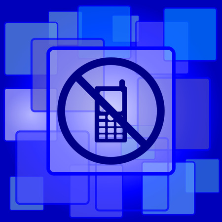 use regulation: Mobile phone restricted icon. Internet button on abstract background.