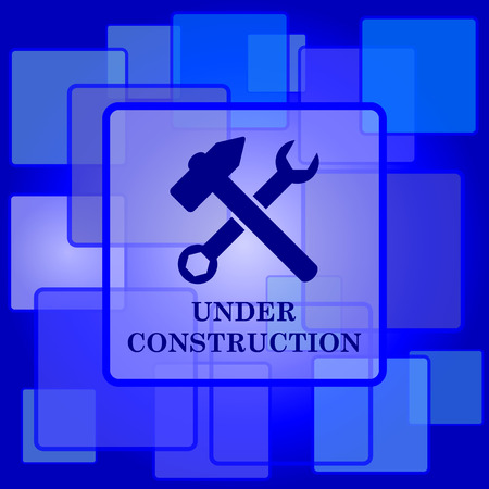 Under construction icon. Internet button on abstract background. Vector
