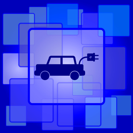 Electric car icon. Internet button on abstract background. Vector