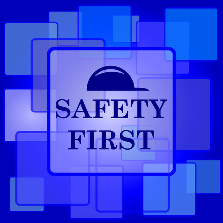 cautionary: Safety first icon. Internet button on abstract background.