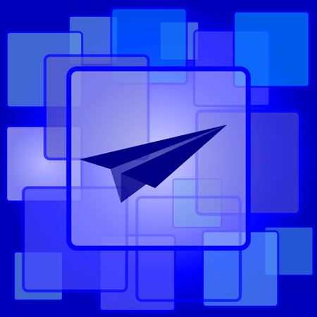 Paper plane icon. Internet button on abstract background. Vector