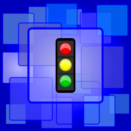Traffic light icon. Internet button on abstract background. Vector