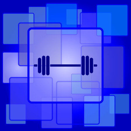 Weightlifting icon. Internet button on abstract background. Vector