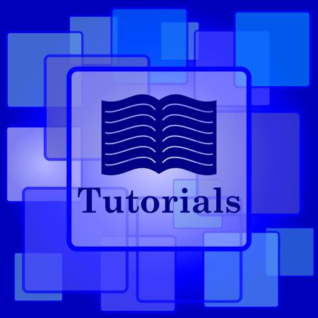 tutorials: Tutorials icon. Internet button on abstract background.