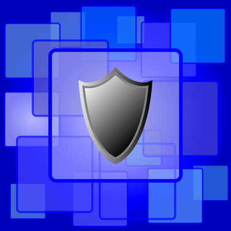 Shield icon. Internet button on abstract background. Vector