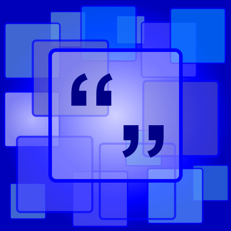 quotation marks: Quotation marks icon. Internet button on abstract background.