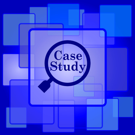 case study: Case study icon. Internet button on abstract background.