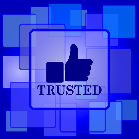 trusted: Trusted icon. Internet button on abstract background.