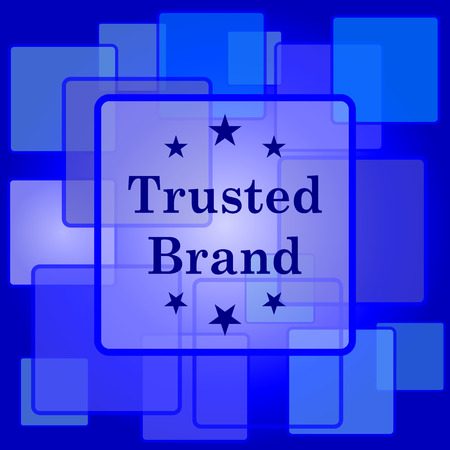 trusted: Trusted brand icon. Internet button on abstract background.