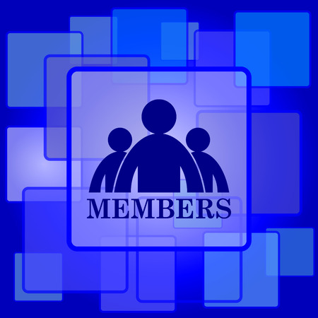 join here: Members icon. Internet button on abstract background. Illustration