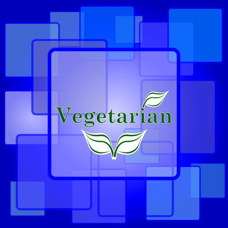 Vegetarian icon. Internet button on abstract background. Vector