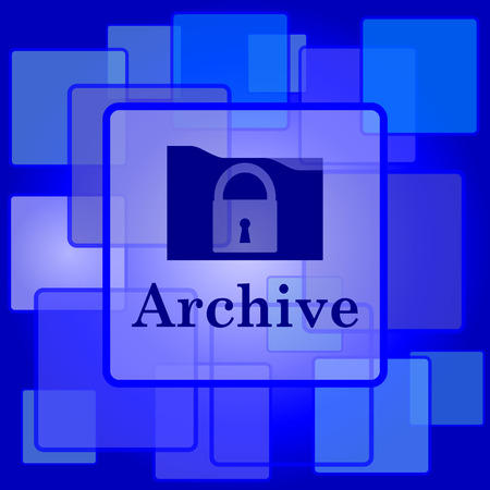 Archive icon. Internet button on abstract background. Vector