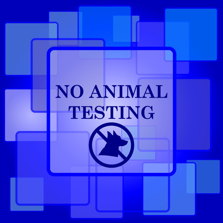 No animal testing icon. Internet button on abstract background. Vector