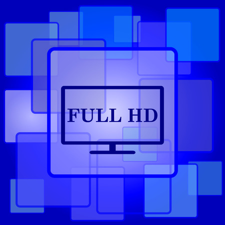 full hd: Full HD icon. Internet button on abstract background.