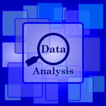 Data analysis icon. Internet button on abstract background. Vector