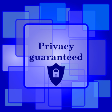 Privacy guaranteed icon. Internet button on abstract background. Vector