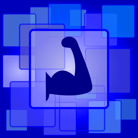 Muscle icon. Internet button on abstract background. Vector