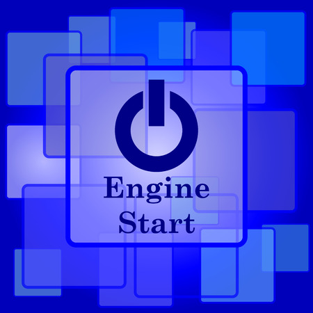 Engine start icon. Internet button on abstract background. Vector